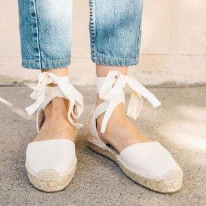 Soludos Flat Espadrilles Sandals Ankle Tie Size 9